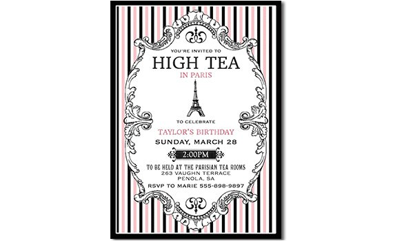 Paris Tea Party Invitation Paris High Tea Invitation Paris Tea Party Invitation Printable