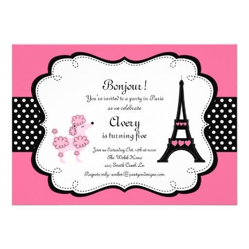 paris pink poodle eiffle tower tea party bridal invitation 161200998539660854
