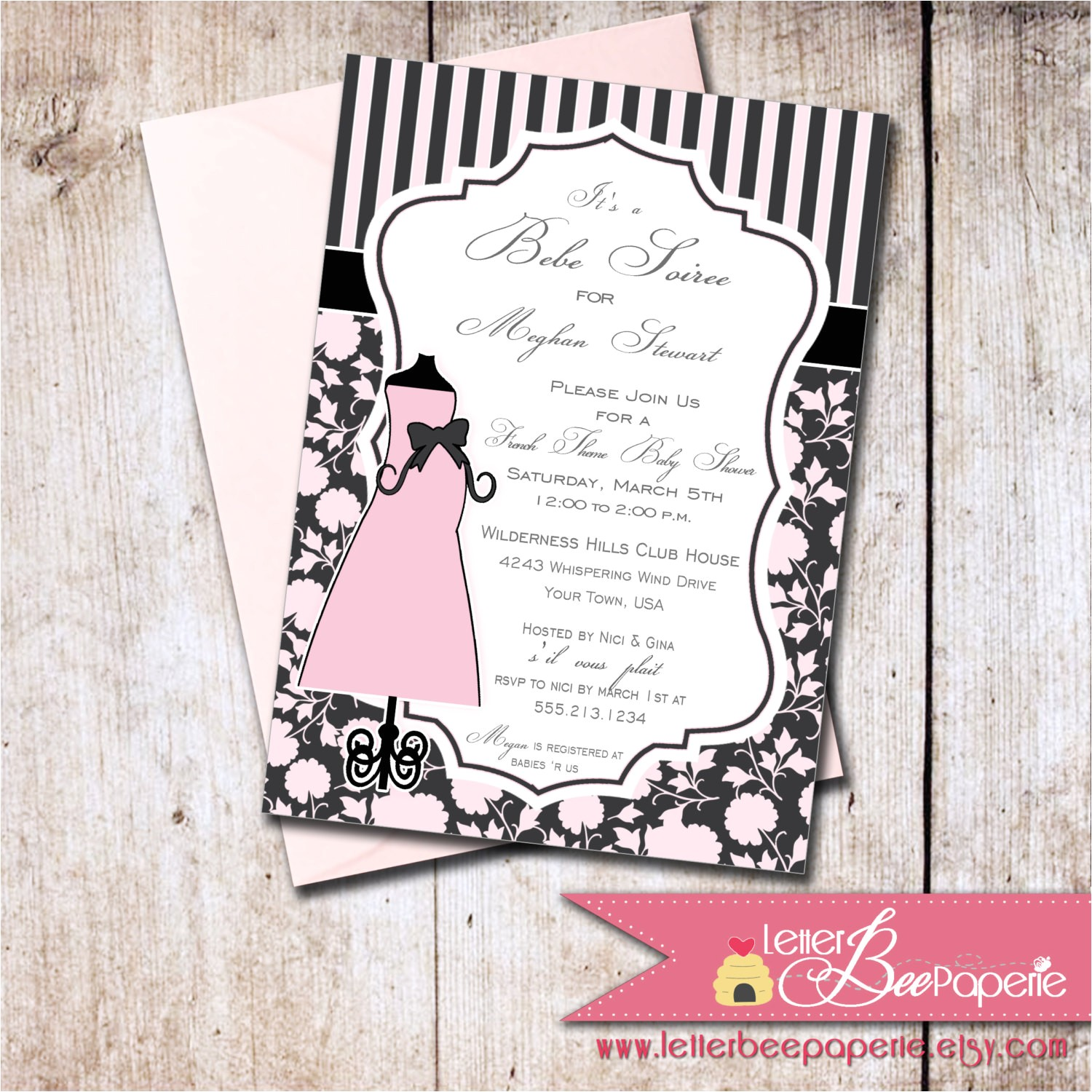 french theme baby shower invitation