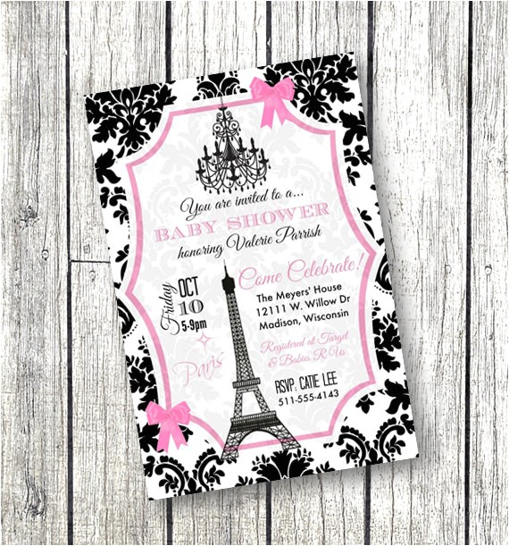 paris baby shower invitation paper goods