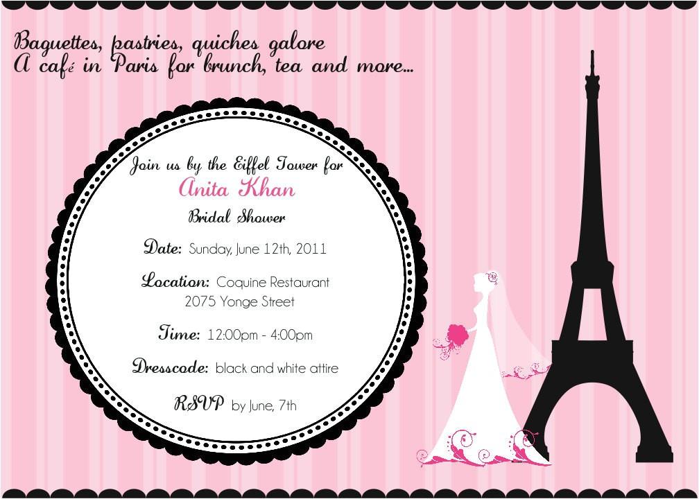 cafe in paris bridal shower invitation