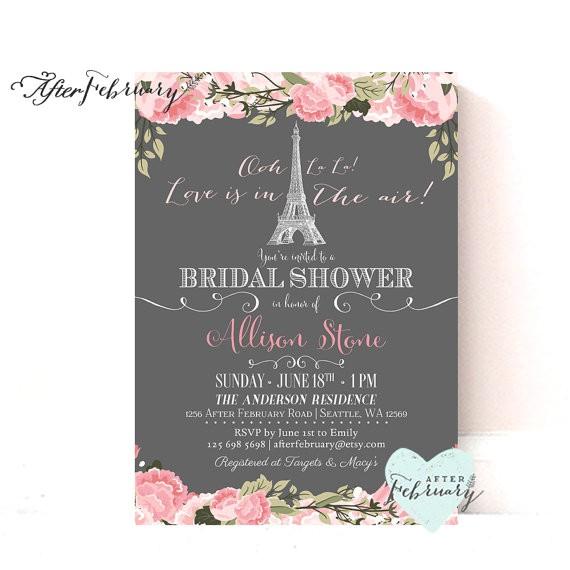 paris bridal shower invitation blush