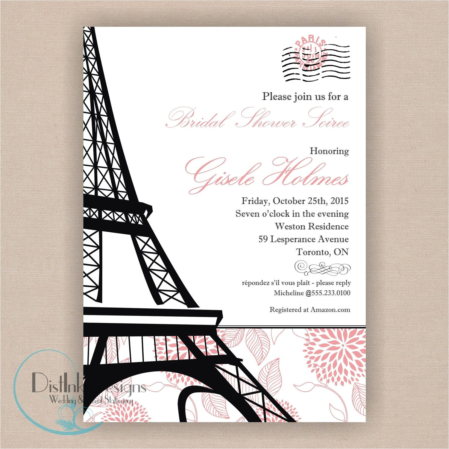 Parisian themed Bridal Shower Invitations Paris Bridal Shower Invitation Printable 5×7 Eiffel