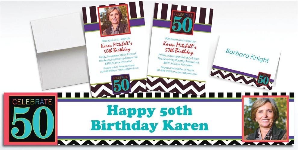custom 50th celebration photo invitations thank you notes