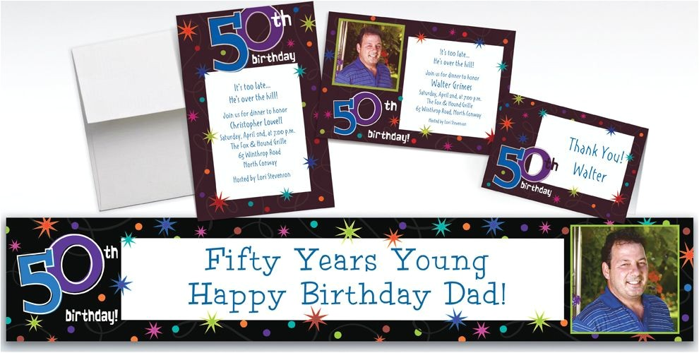 custom the party continues 50th birthday invitations thank you notes