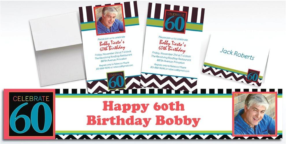 custom 60th celebration photo invitations thank you notes