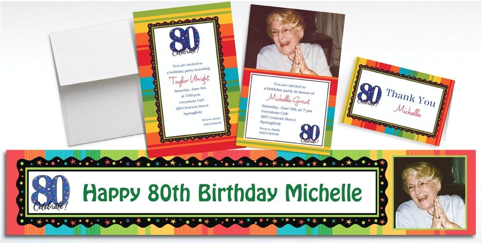 custom a year to celebrate 80th invitations thank you notes do