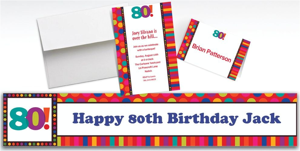 custom birthday dots stripes 80th invitations thank you notes do