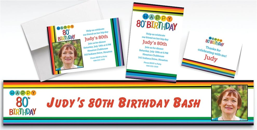 custom rainbow 80th birthday banners invitations thank you notes do