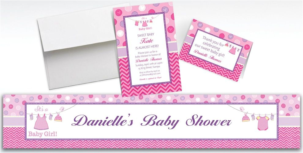 custom shower with love girl baby shower invitations thank you notes