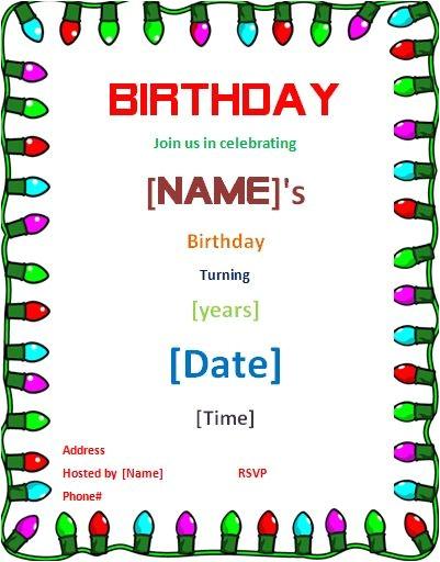 birthday card word template