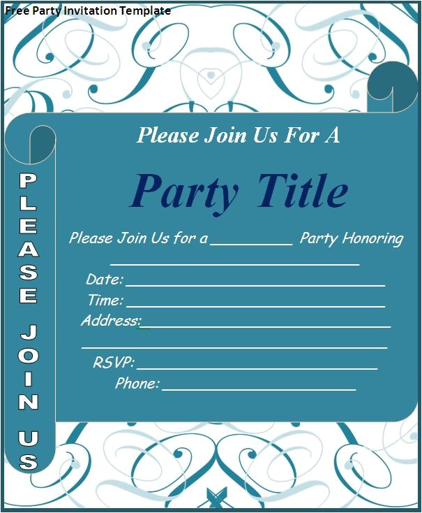 free party invitation template page