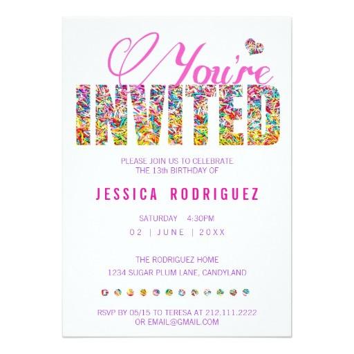 candy theme sprinkles birthday party invitation 161049543985002086