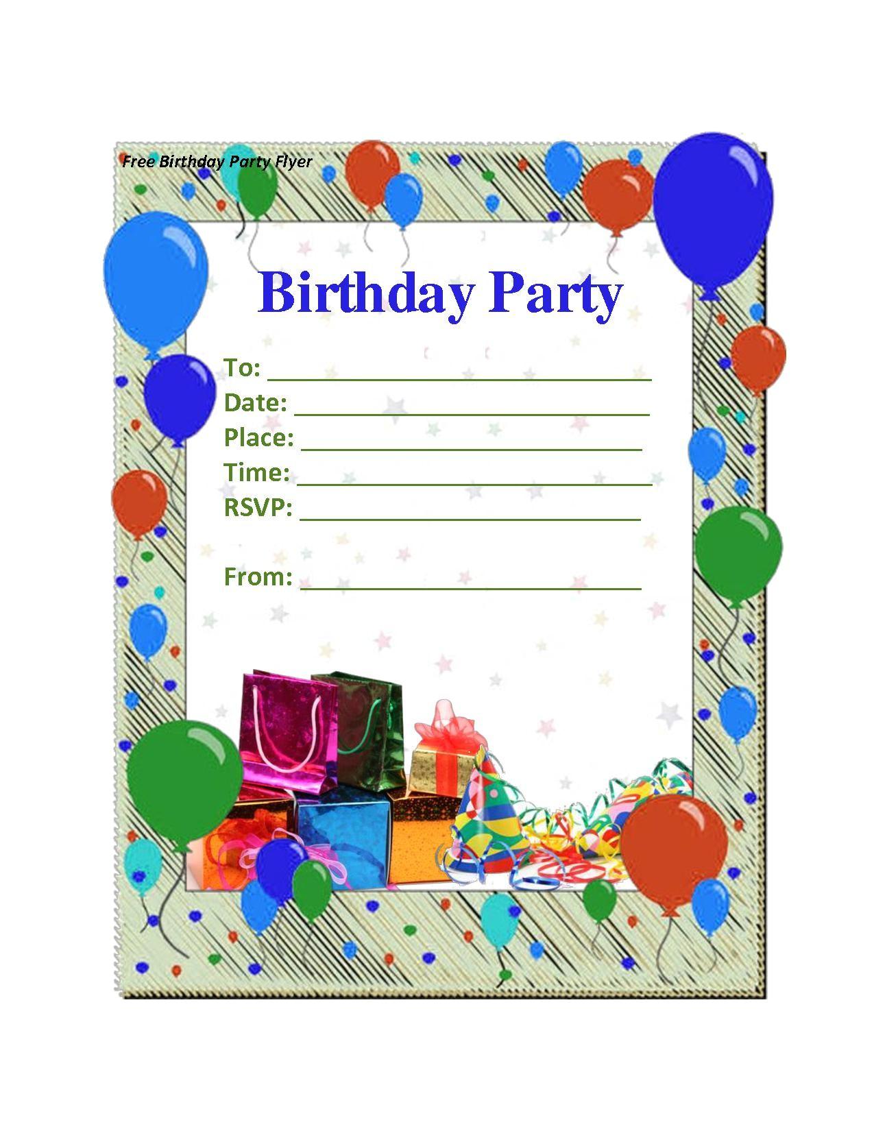 Party theme Invitation Templates Free Birthday Party Invitation Templates