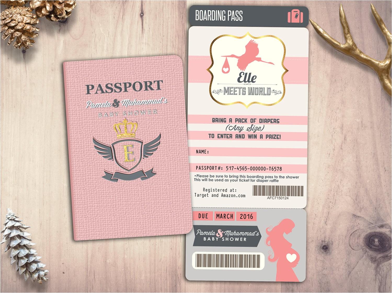 passport and ticket baby shower