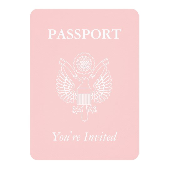 passport baby shower girl travel theme party card