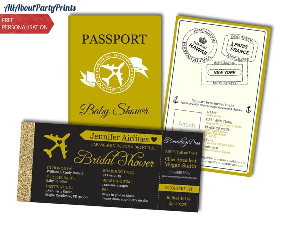 bridal shower boarding passport boarding pass