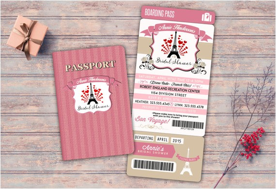 passport and ticket sweet 16 bridal