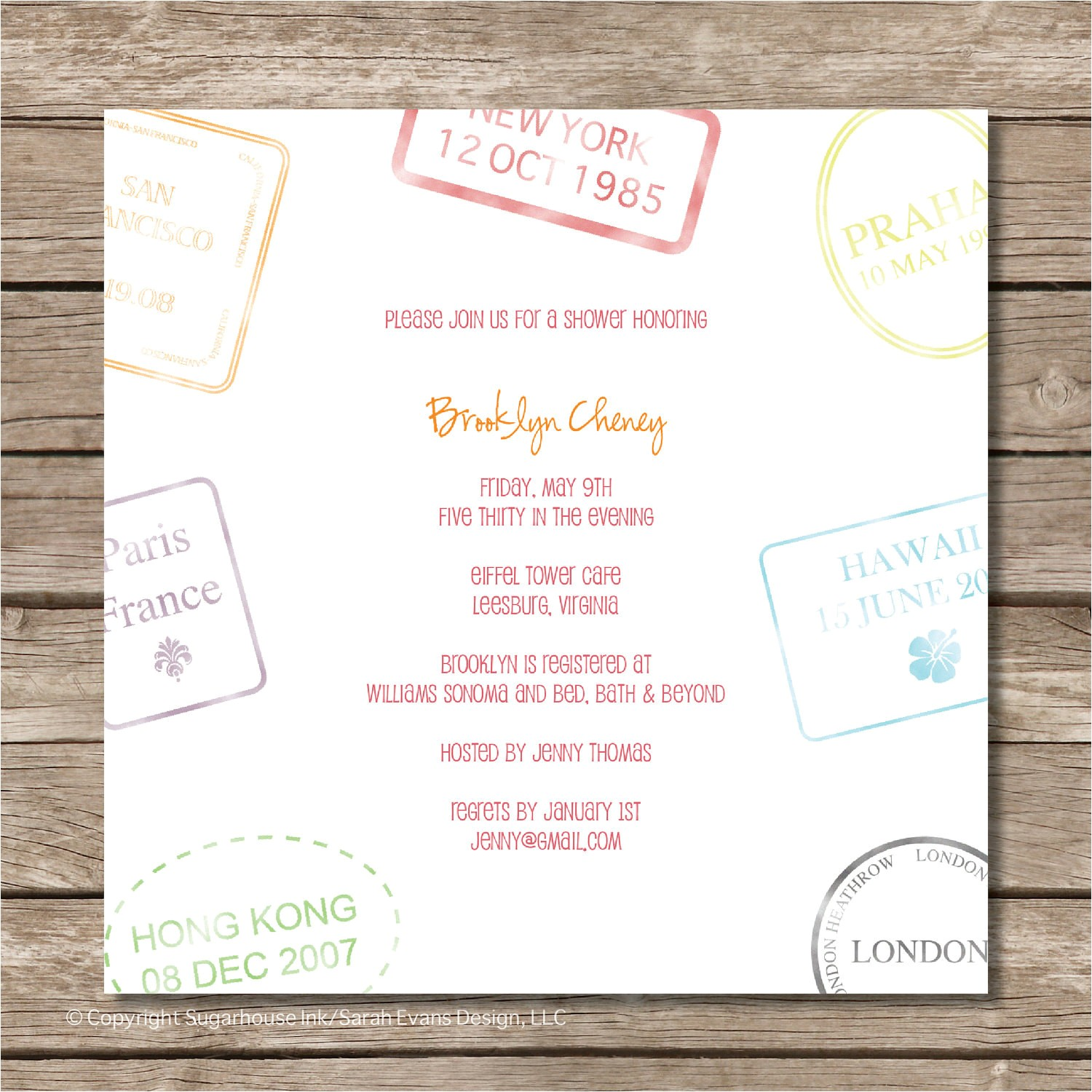 passport stamp bridal shower invitation