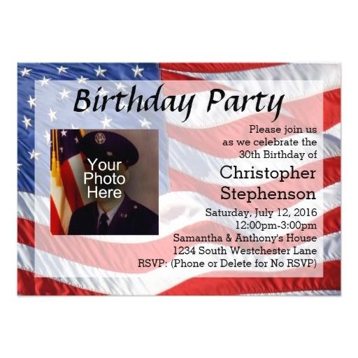flag photo patriotic birthday party invitation 256846693636797200