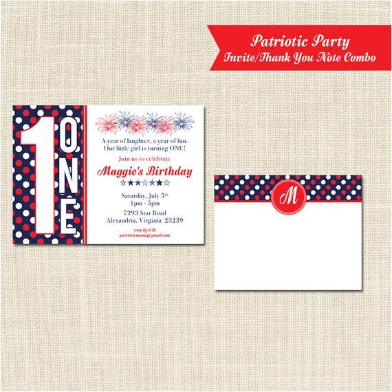 patriotic birthday invitation and thank