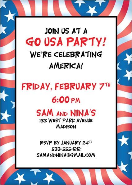 patriotic flag party invitation 434444
