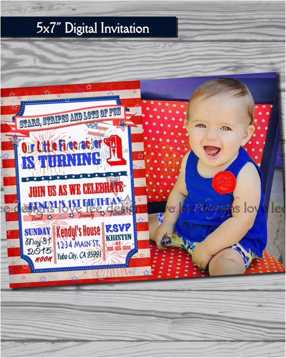 4th of july invitation first birthday