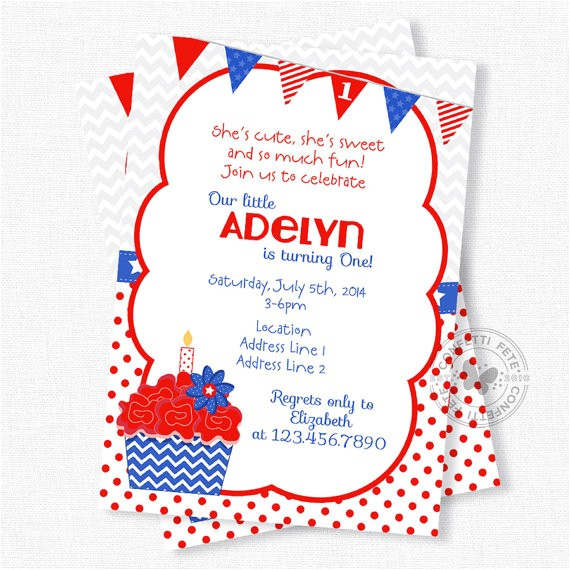 4th july cupcake digital invitation print