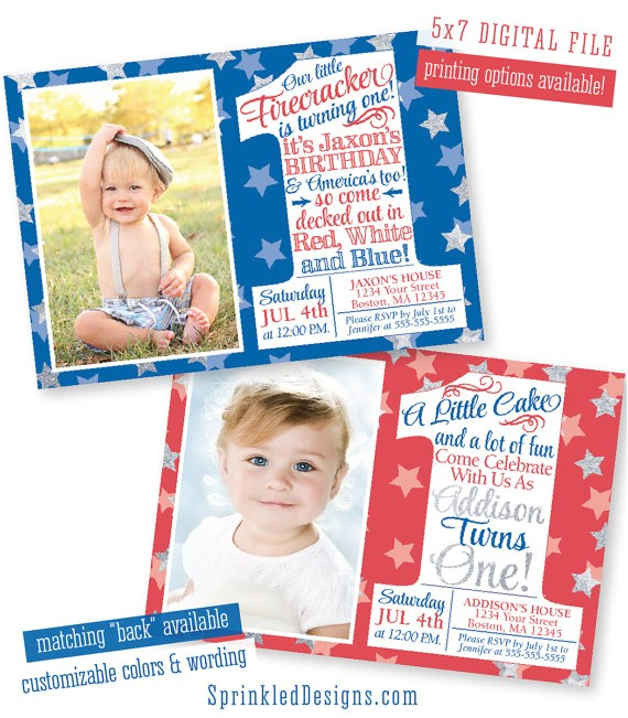 patriotic first birthday invitation