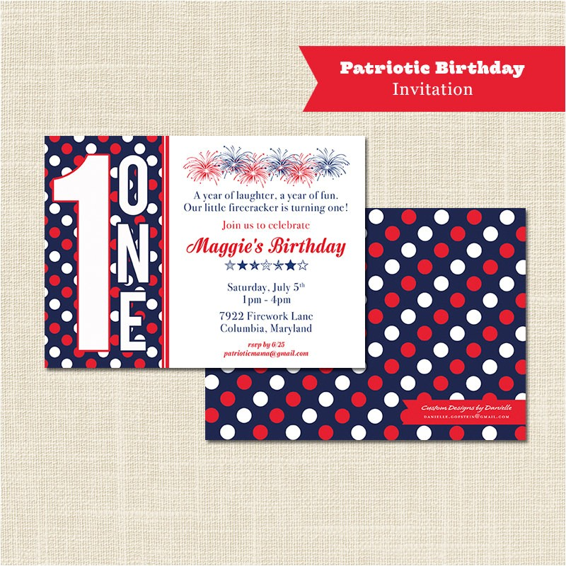 patriotic birthday invitation 1st