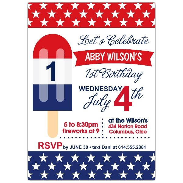 Patriotic Popsicle 1st Birthday Party Invitations p 605 57 PS634