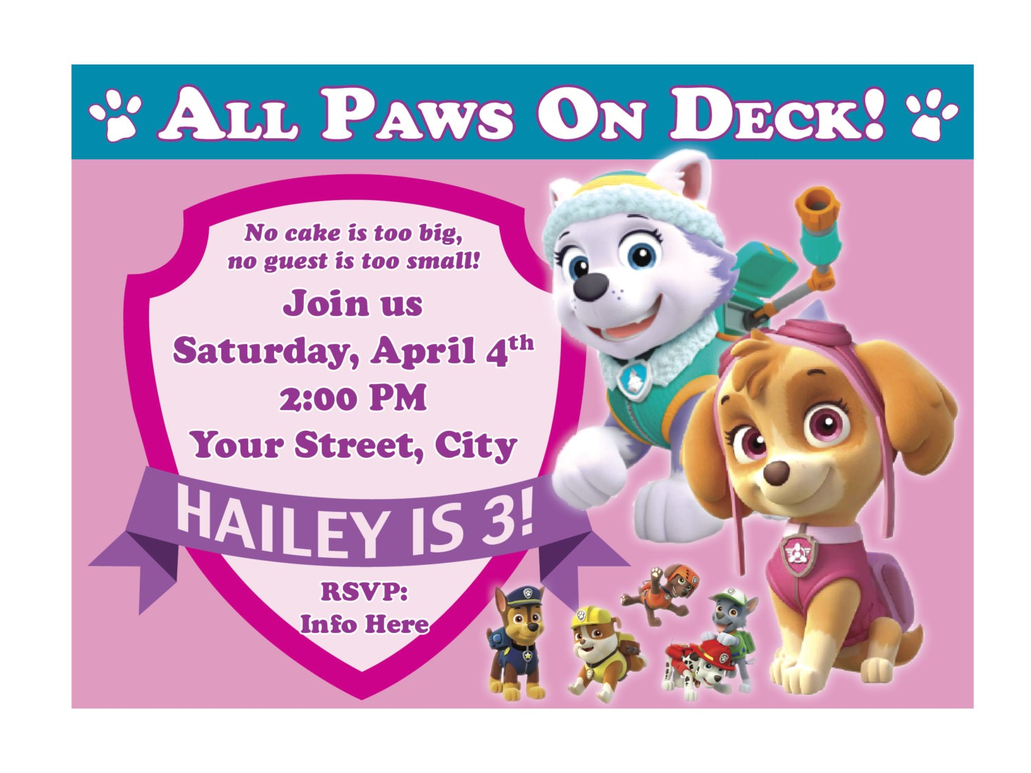 Paw Patrol Birthday Invitations Free Printable Free Printable Paw Patrol Birthday Invitation Ideas