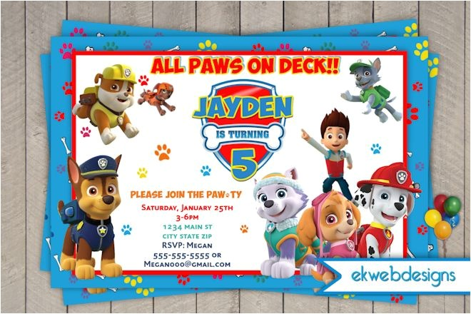 paw patrol birthday invitations nick jr custom invites