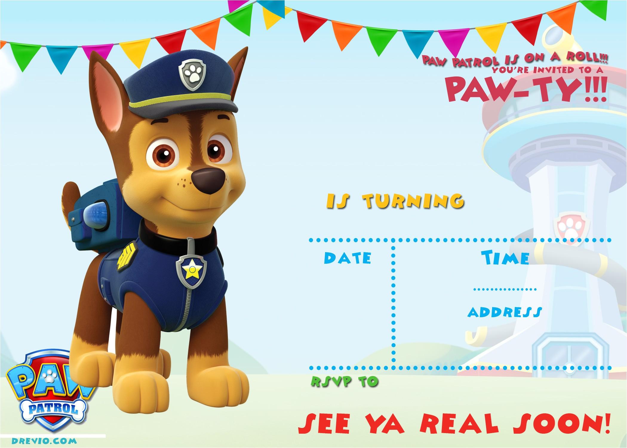 paw patrol birthday invitation ideas
