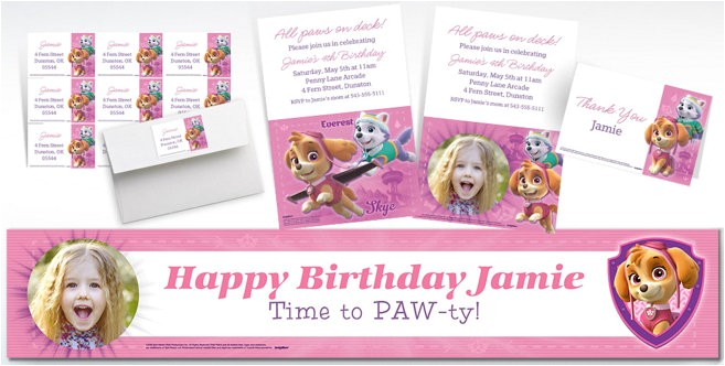 custom pink paw patrol banners invitations thank you notes