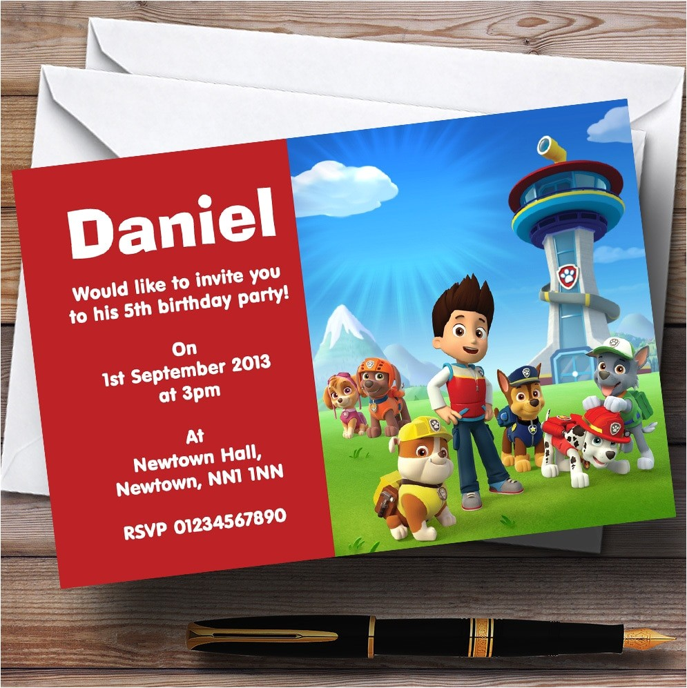 paw patrol personalised childrens birthday party invitations