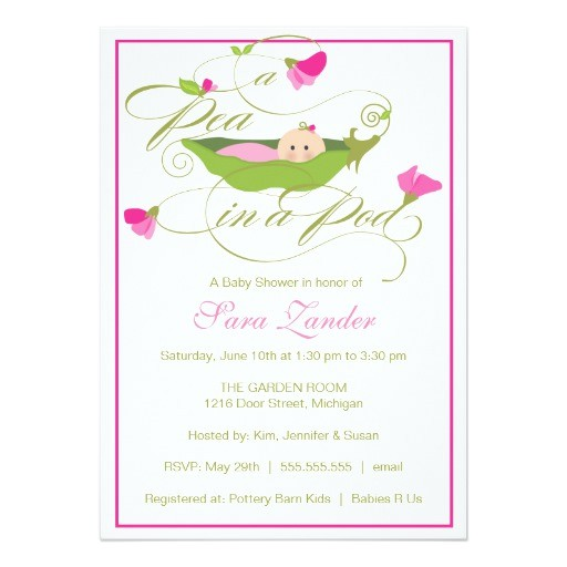 baby shower invitation girl pea in a pod