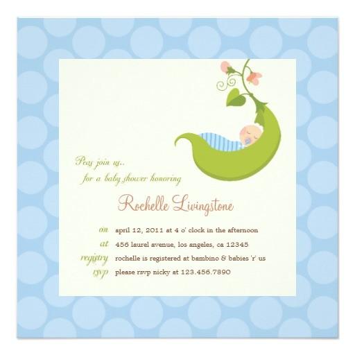 pea in a pod boy baby shower invitation