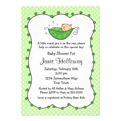 pea in my pod baby shower invitation