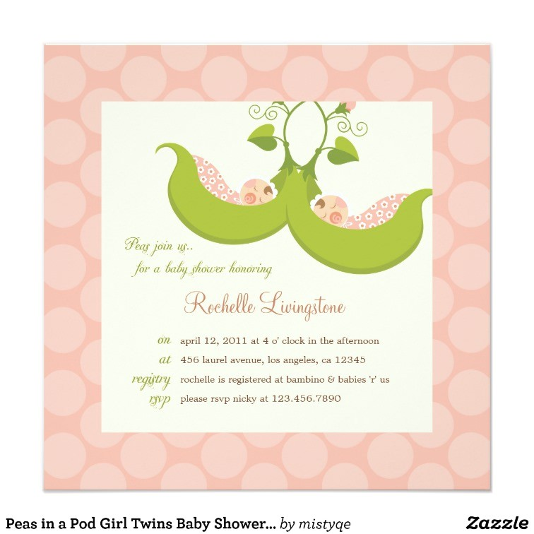peas in a pod girl twins baby shower invitation