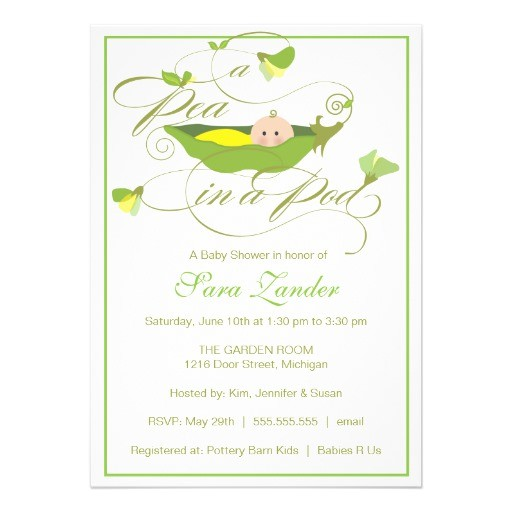 baby shower invitation neutral pea in a pod