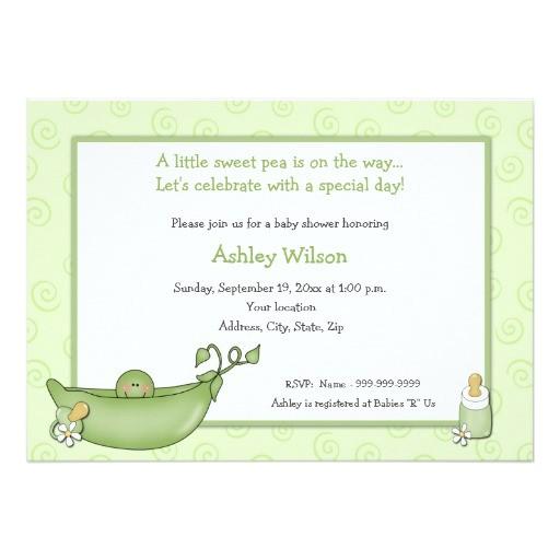 pea in the pod baby shower invitations