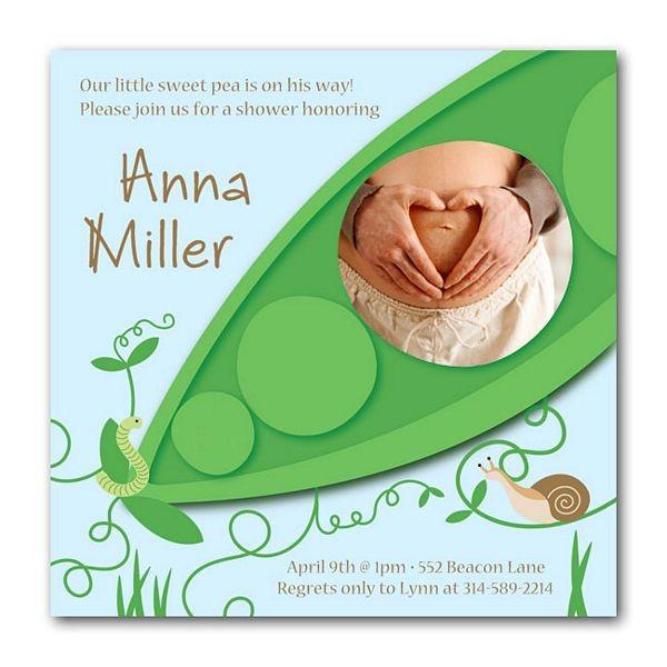 pea in the pod boy baby shower invitations
