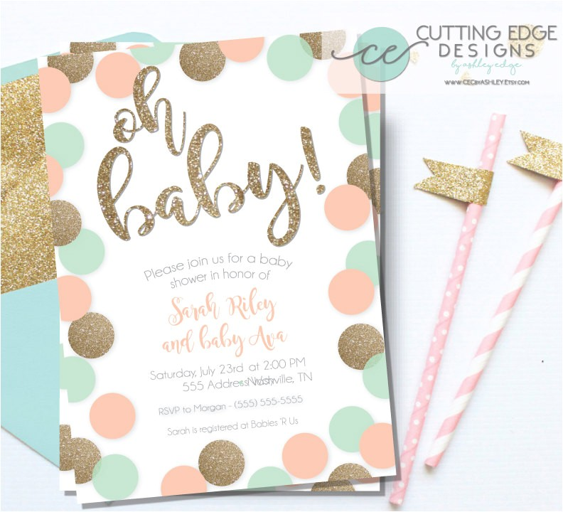 baby shower invitation peach mint and