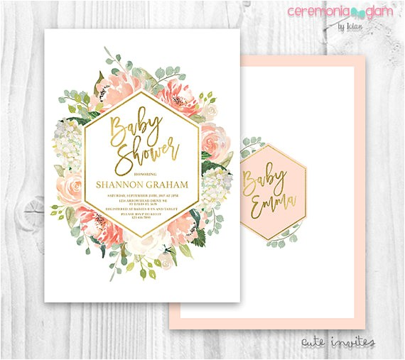floral baby shower invitation floral peach