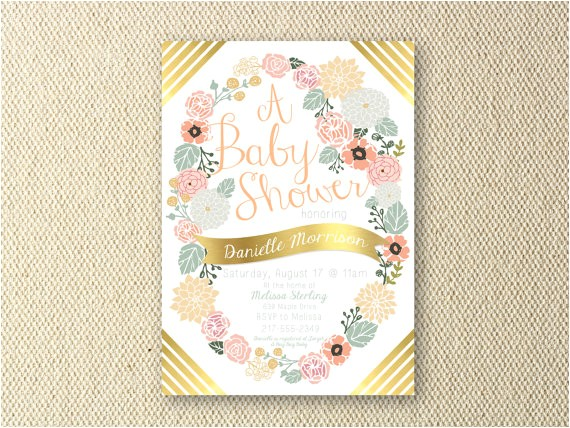 floral peach and gold baby shower