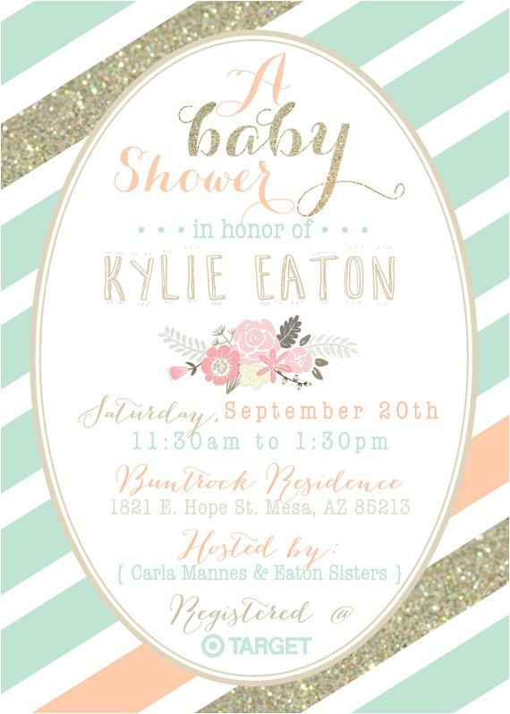 mint peach and gold baby shower