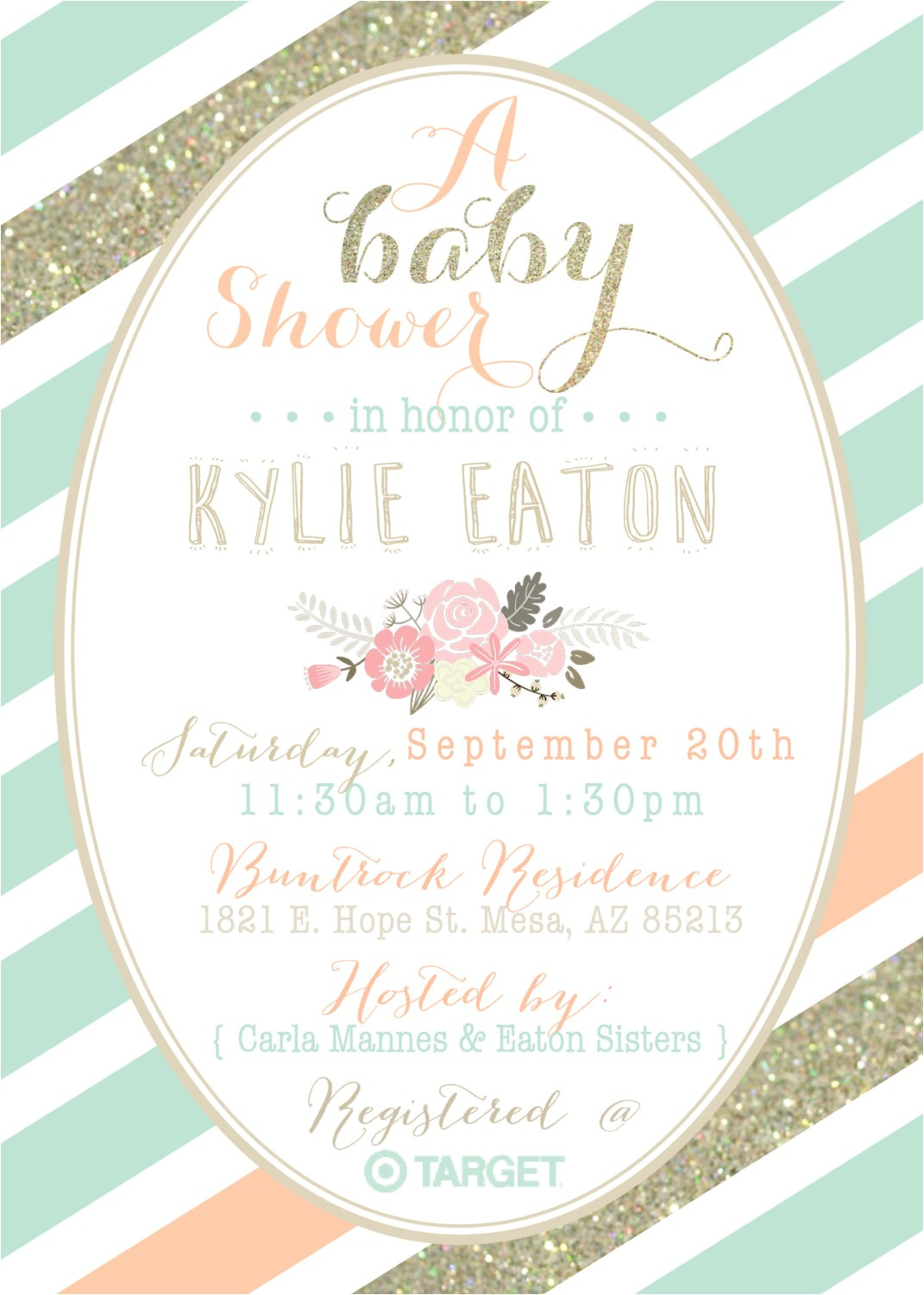 Peach and Gold Baby Shower Invitations Mint Peach and Gold Baby Shower Invitation