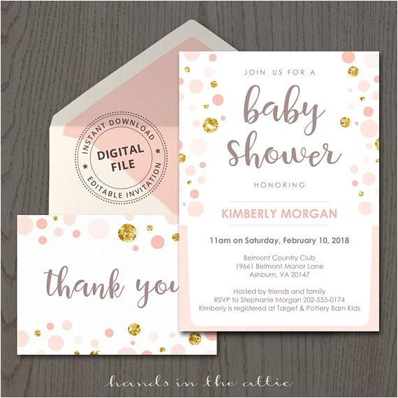 peach and gold baby shower invitation
