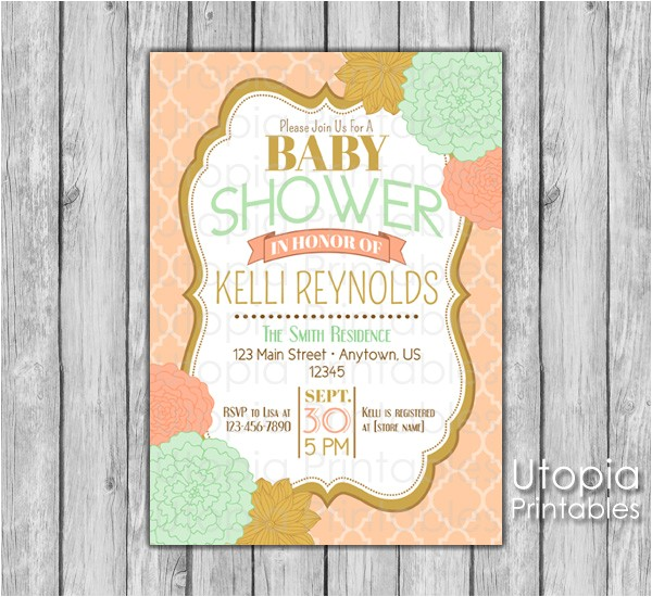 peach mint gold flowers baby shower invitation